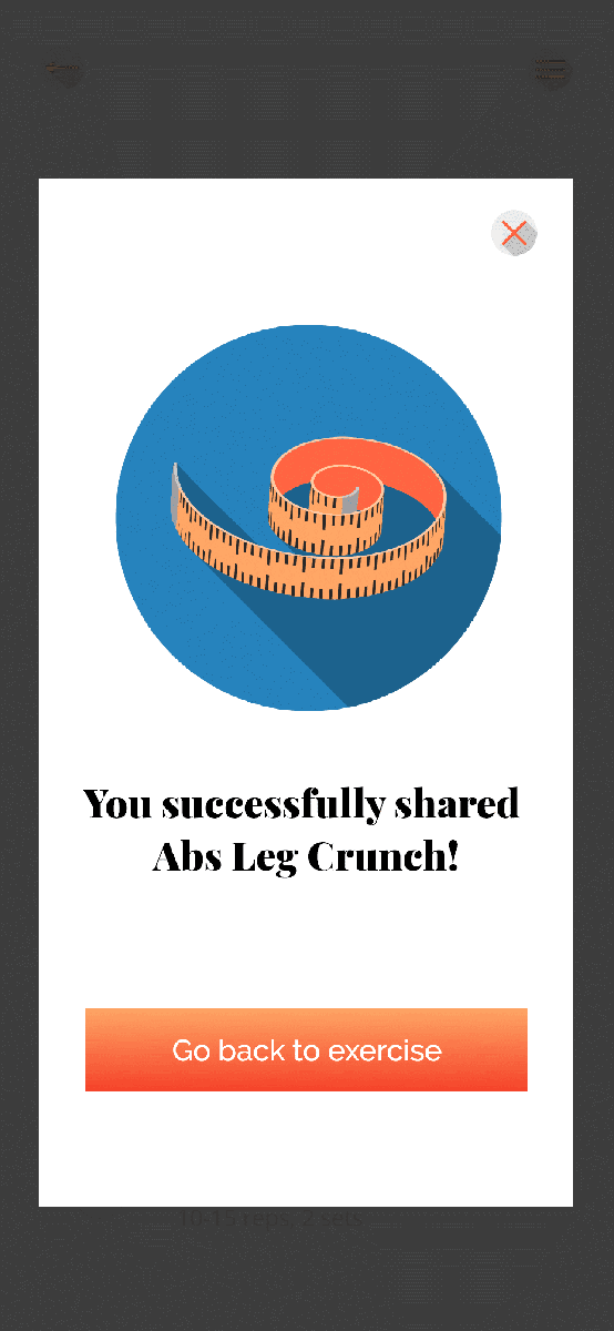 Befit Exercise Share Screen