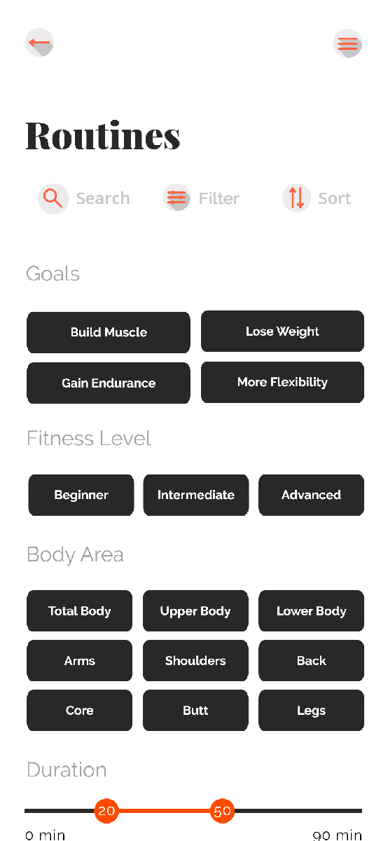 Befit Routines Filter Screen